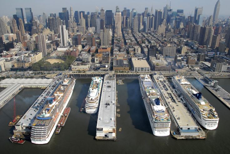 Cruise Ships Loading Passengers at the Manhattan 								 Cruise Terminal.
